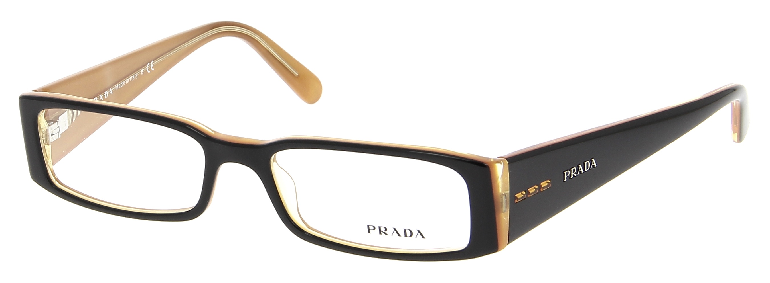 lunettes de vue prada pr 10fv 2bx101 51 16 femme noir orange rectangle cercl e tendance. Black Bedroom Furniture Sets. Home Design Ideas