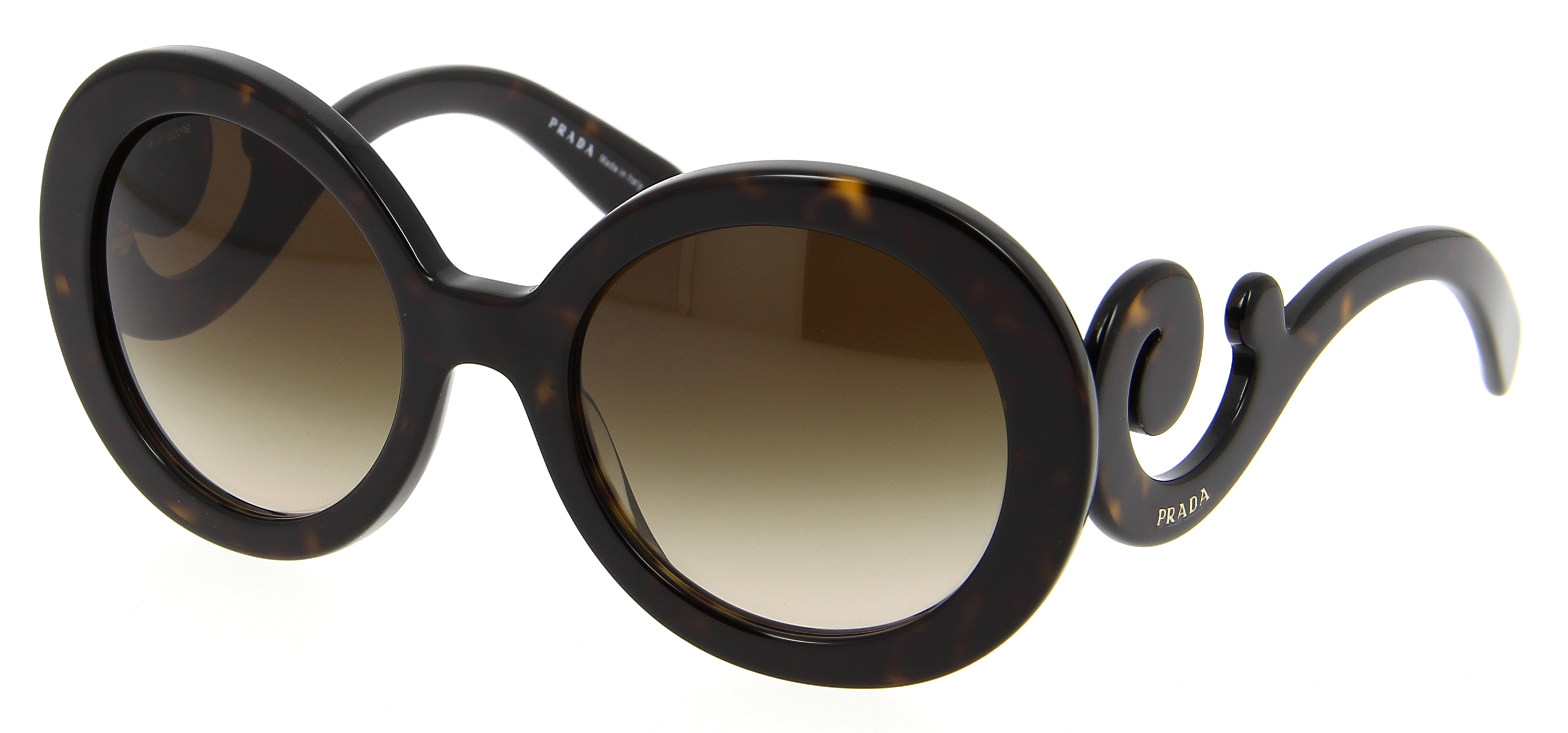 lunettes de soleil prada pr 27ns 2au6s1 55 22 femme caille brun arrondie cercl e tendance. Black Bedroom Furniture Sets. Home Design Ideas