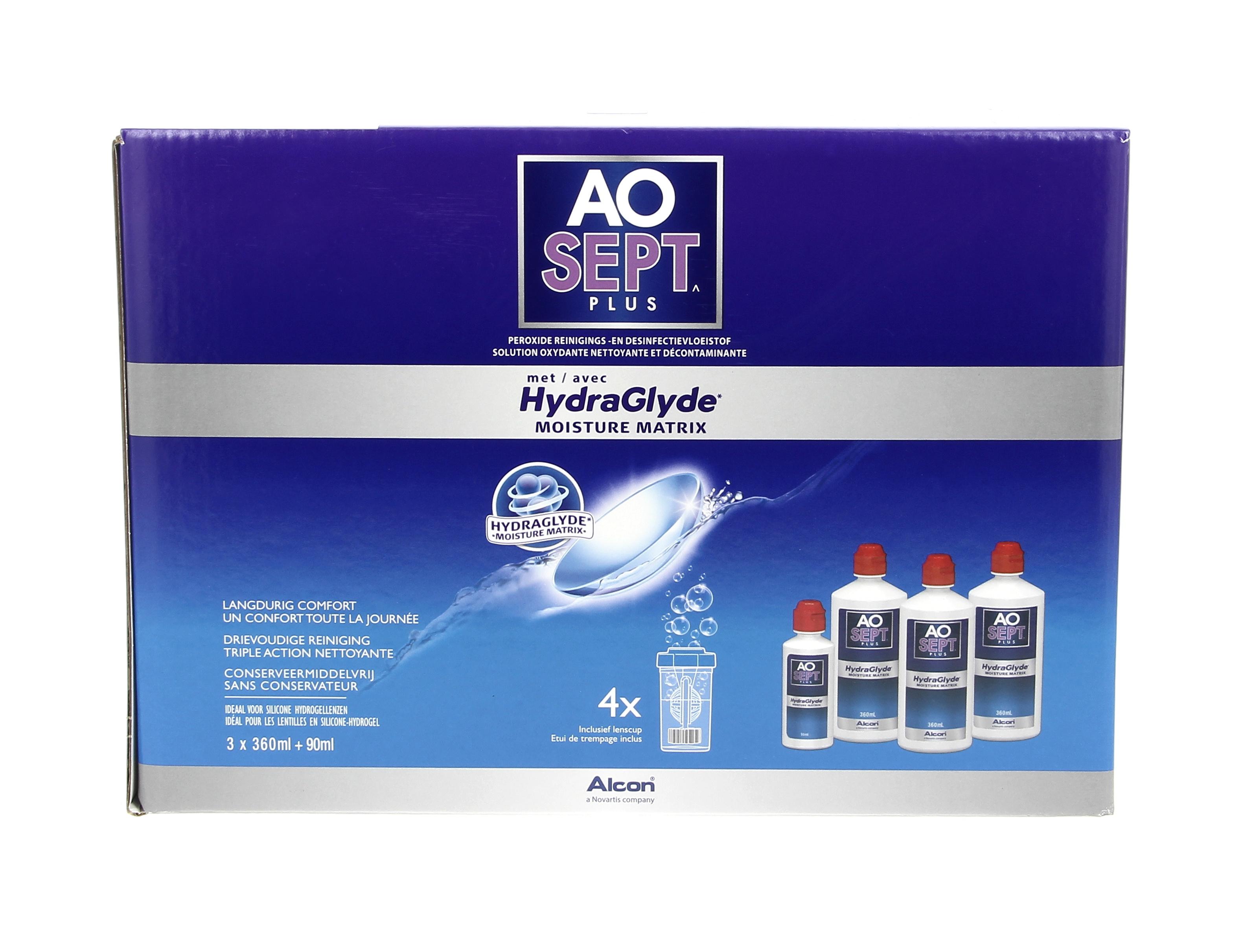 AOSEPT PLUS HydraGlyde Coffret Eco 3 x 360 ml + 1